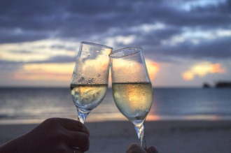 Wine at the beach.