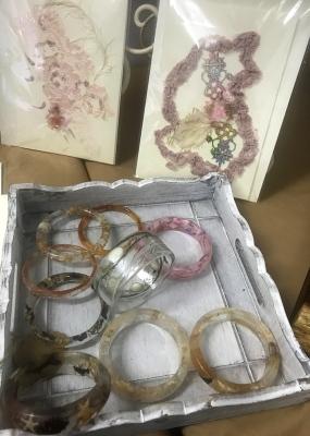 Resin bracelets, cards and envelopes